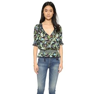 Tory Burch Smocked Cotton Floral S Peasant Top